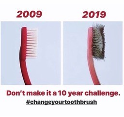 Image of a toothbrush that's clean and one that's 10 years old.