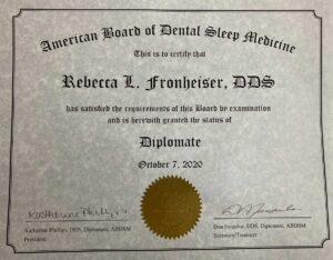 Photo of Certificate for Sleep Medicine Rebecca Fronheiser DDS